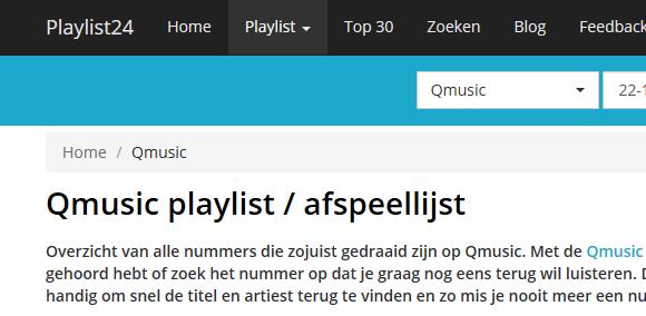 Q music playlist bekijken op je pc